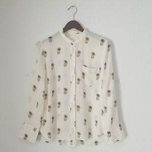 A.L.C. silk feather blouse size 8